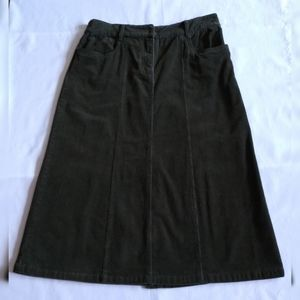 Christopher & Banks Corduroy Midi Skirt Seaweed 10